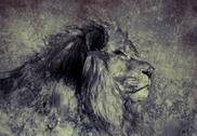 Stock Illustration of illustration made with digital tablet, lion in sepia