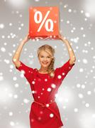 Stock Illustration of lovely woman in red dress with percent sign