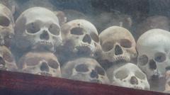 KHMER ROUGE ASIA: MCU skulls on display Stock Footage