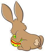 easter bunny hiding eggs - stock illustration