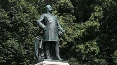 Berlin Tiergarten Albrecht Graf von Roon statue Stock Footage