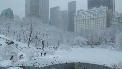 Central Park in New York City in snow manhattan skyline - stock footage