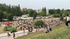 Berlin Mauerpark Flea Market beyond pedestrian traffic editorial Stock Footage