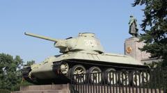 Germany Berlin Tiergarten old tank at WWII Memorial Stock Footage