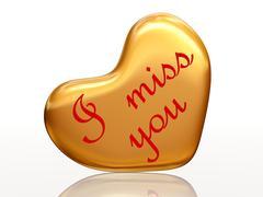 i miss you in golden heart - stock illustration