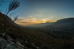 Apuseni Mountains valley sunset time lapse fish eye 6K Stock Footage