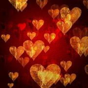 Red golden hearts background Stock Illustration