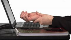 Hands typing with Wrist Pain Stock Footage