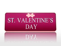 St. valentines day purple banner with ribbon Stock Illustration