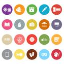 Stock Illustration of entertainment flat icons on white background