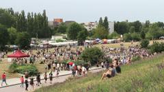 Germany Berlin Mauerpark Flea Market and pedestrian traffic Stock Footage