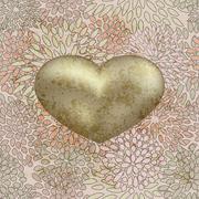 Stock Illustration of vector golden  heart on  seamless floral background on grunge background