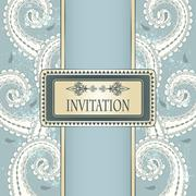 vector invitation template eastern  pattern and place for your text on  grung - stock illustration
