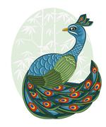 vector  chinese style peacock on bamboo background - stock illustration