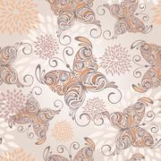 Stock Illustration of vector seamless pattern with   hand drawn butterflies and abstract flowers