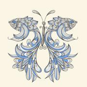 Stock Illustration of vector concept butterfly with wings - fishes, fishes can be used separately