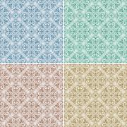 Stock Illustration of set with four vector seamless floral spring patterns