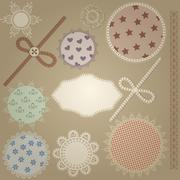 vector scrapbook design elements,  patterns can  be used separately: bows, bu - stock illustration