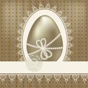 Stock Illustration of vector vintage easter greeting card with golden egg and lacy napkin