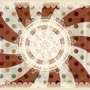 vector retro  background with lacy napkins and floral ornament behind - stock illustration