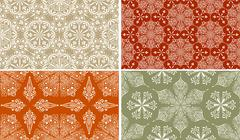 4 vector seamless winter patterns with  snowflakes - stock illustration