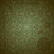 Stock Illustration of vector seamless golden pattern on green grungy background with crumpled paper