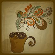 Stock Illustration of vector retro concept composition with stylized cup of coffee on crumpled pape