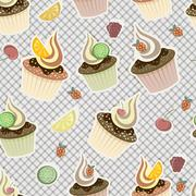 vector seamless pattern with cupcakes,  fruits and berries - stock illustration