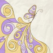 vector butterfly and abstract pattern, crumpled paper texture - stock illustration