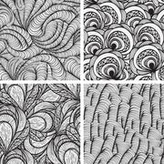 four vector seamless funky monochrome  patterns - stock illustration