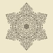 vector vintage highly detailed snowflake - stock illustration