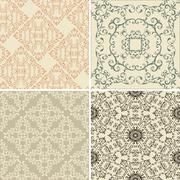 Stock Illustration of vector set of 4  vintage seamless patterns