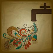 Stock Illustration of vector eco concept with a water tap and floral pattern flowing from it and sy