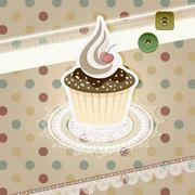 Stock Illustration of vector vintage pattern with cupcake and retro background