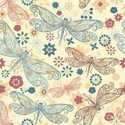 vector seamless pattern with  dragonflies and flowers - stock illustration