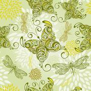 vector seamless pattern with butterflies, dragonflies, and abstract flowers - stock illustration