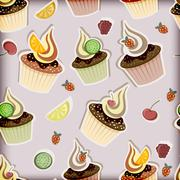 Stock Illustration of vector seamless pattern with cupcakes,  fruits and berries