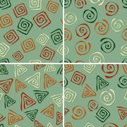 Stock Illustration of 4 vector seamless patterns with funky abstract figures
