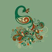 vector stylized peacock - stock illustration
