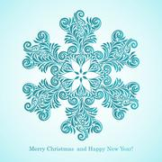 Stock Illustration of vector christmas greeting card with snowflake