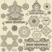 Stock Illustration of vector vintage christmas design elements