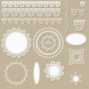 Stock Illustration of vector lacy scrapbook design elements