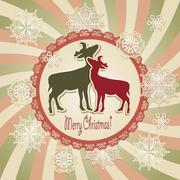 vector christmas scrapbook greeting card - stock illustration