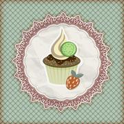 Stock Illustration of vector invitation template with cupcake