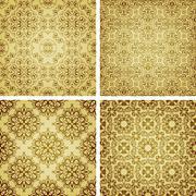 Vector seamless golden patterns, oriental style Stock Illustration