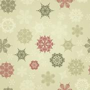 vector seamless winter pattern with snowflakes - stock illustration