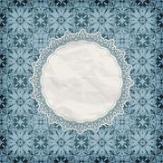 Stock Illustration of vector retro lacy napkin on seamless blue pattern