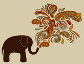 Stock Illustration of elephant with floral pattern coming from his trunk