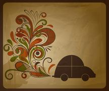 Stock Illustration of vector eco  concept composition with a car and floral exhaust coming from it