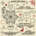 Stock Illustration of vector vintage holiday floral  design elements  and snowflakes